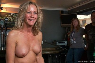 Sweaty milf obtains tied, fisted and penetrated by strangers in public