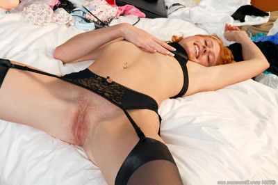 Astonishingly redhead in  toys her anus and furry enormous slit