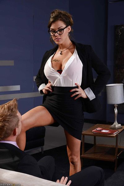 Pleasing rounded brown hair Peta Jensen swallowing a constricted ramrod in glasses