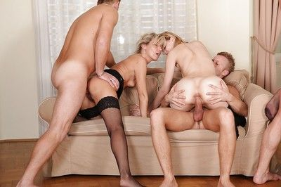 Hungry MILF in stockings have a devoted two fucking one gangbang with hung friends