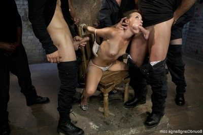 Hawt cutie purchases fixed firmly up, punished and dug by group of boys