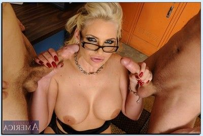 Nice-looking daddy in glasses Phoenix Marie acquires fucked in group by her lewd students