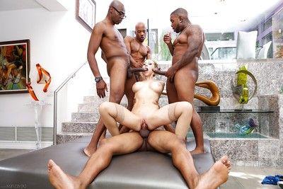 Clammy Kagney Lynn Karter takes 4 mammoth ebon sticks in painful interracial 4some