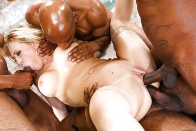 Clammy Kagney Lynn Karter takes 4 mammoth ebon sticks in painful interracial 4some