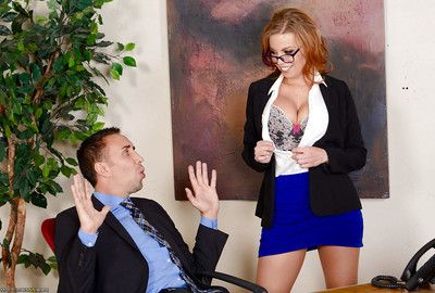 Tube clothing pornstar Britney Amber pleasing anal while hardcore office DP