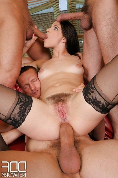 Salacious european MILF in  enjoys DP orgy with hung boys