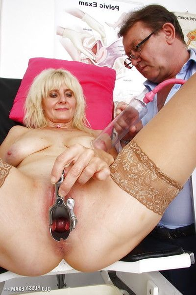 Older golden-haired Mia and her saggy established titties undergo perverse doctor exam