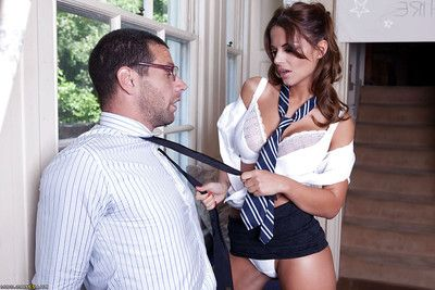 Elegant european schoolgirl seduces her advisor and benefits from drilled bisexual
