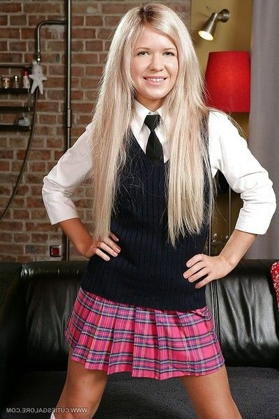 Lusty golden-haired schoolgirls getting uncovered and jerking off her love holes