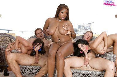 Interracial gangbang with titsy large mammas engulfing phallus and glorious ass-pounding