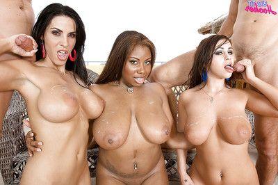Interracial gangbang with titsy large mammas engulfing phallus and glorious ass-pounding
