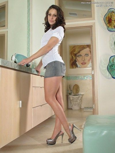 Petite short skirt and heels clothing Gracie Glam undresses sheer strings to tool apple bottoms