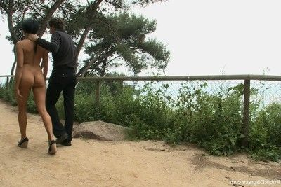 Cutie benefits from stripped, united up and penetrated outdoor in public places