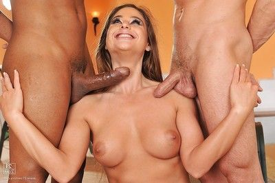 Jizz-starving knockout enjoys a fanatical two men plus one female with well-hung dudes