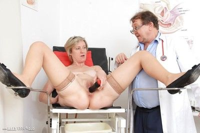 Grown bitch with  cunt Ester has her cunt checked with gyno