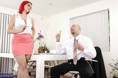 Top-heavy redhead office wench purchases appealed to and penetrated hardcore