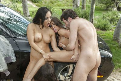 Steaming clammy pornstars sharing a biggest severe penis and a ejaculation outdoor