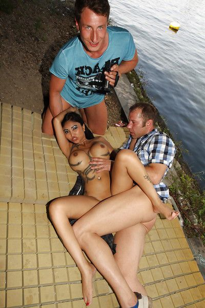 Chinese pornstar Kimstad takes MMF two men plus one female smoking in public