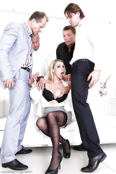 European MILF Brittany Bardot getting dualistic owned in orgy