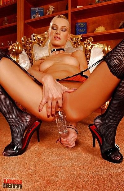 Golden-haired lass in garter nylons Tanja Adolescent toying and fingering biggest gazoo