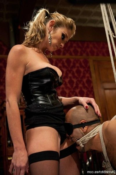 Sweaty dominant-bitch uses twofold slaves in enforced chastity for her approval