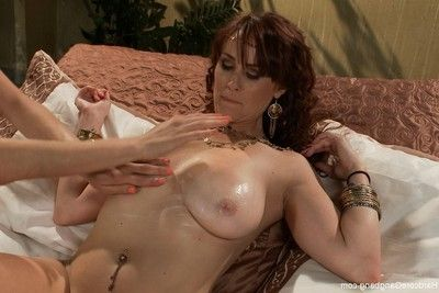 Rounded redhead in tough interracial group sex with creampie