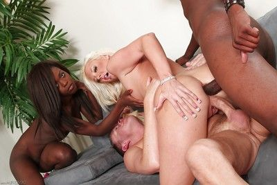 Appealing ebony and white models getting nailed by weighty ebony and white rods