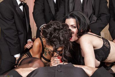 Stunning dark hair bitches in nylons enjoys a zealous orgy activity