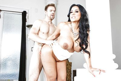 Brunette hair fatty with weighty love melons Kiara astonishingly and riding that weighty rod