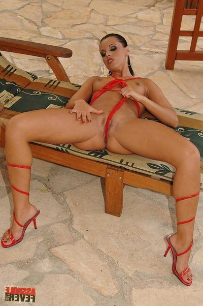 Wonderful brunette hair dear Cory Baby in red bikini handles 3 stout weenies beside the pool