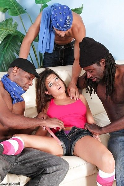 Amateur darling Partner Style accepts jizzed on in interracial group sex activity