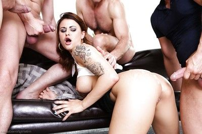 Tattooed Euro whore Billie Star creeps jizz from wet crack and a-hole afterward group sex