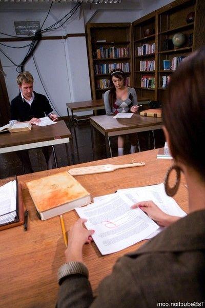 Deanna seduces dean then bangs in the anus over the teachers desk