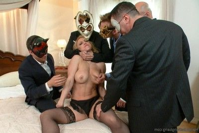 Lass accepts fixed up and screwed by group of stallions in orgy gangbangs