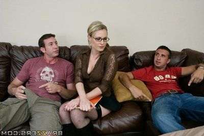 Hot golden-haired dear Harmony Rose has a orgy with two fucking one
