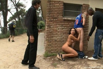 Darling purchases stripped, bound up and screwed outdoor in public places
