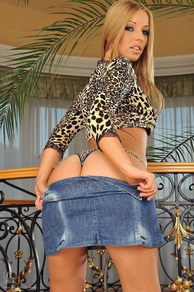 Debbie White stripped off off her denim miniscule petticoat and leopard underwear then takes massive ramrod in her a-hole