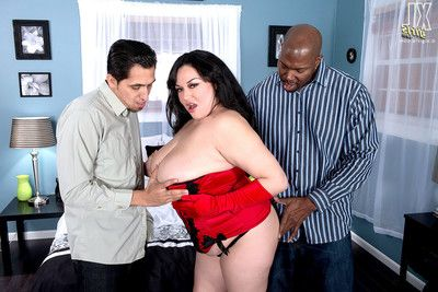 Hulking woman screwed in her largest gazoo in anal two men plus one female