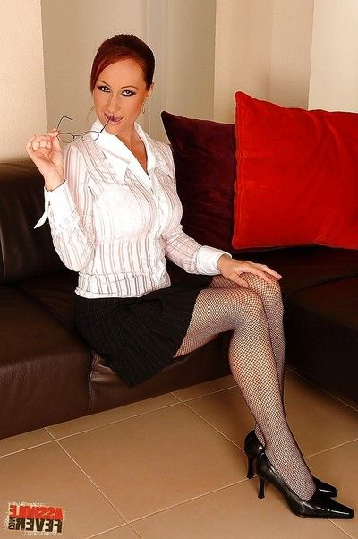 MILF secretary in glasses and nylons Katy Parker got her anus owned