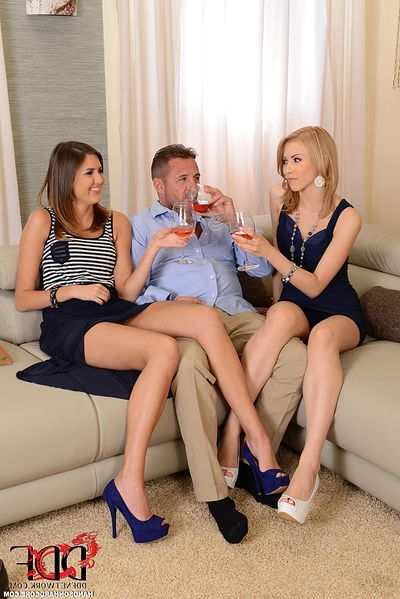 Leggy Euro cuties in high heels play with tongue uterus during the time that grand anal in MMF
