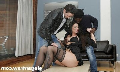 Buttfucking pornstar accepts two fucking one by enormous dongs in interracial Three-way