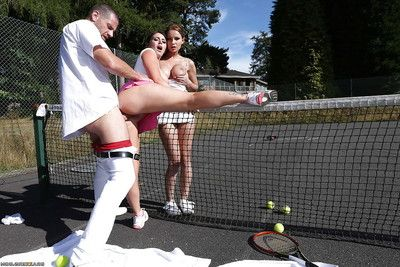 Largest busted tennis players have a ardent two men plus one female with a hung dude outdoor