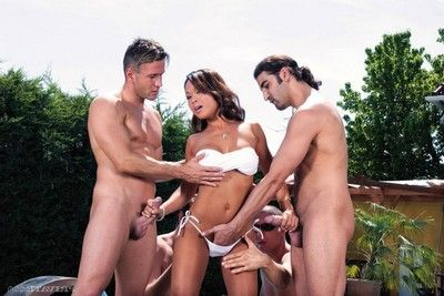 Jade the Japanese prostitute takes on four sturdy sore jocks