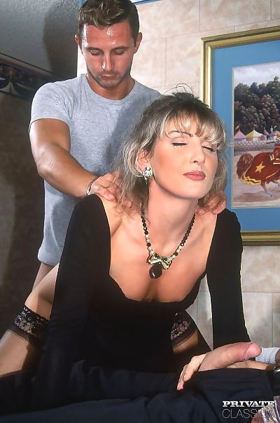 Classic 70s broad Katia action 3 males in all 3 of her grimy holes instantly