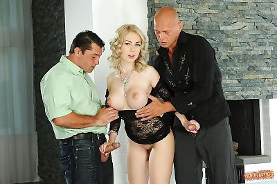 Titsy fairy-haired temptress receives her ashole agile with double massive dongs