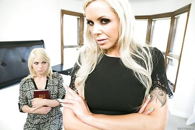 Fairy mommys Nina Elle & Tara Morgan do per other in the butt with fake jocks