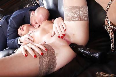 Sexually excited brunette hair Kitty Ebony purchases her arsehole bonked by a stiff penis