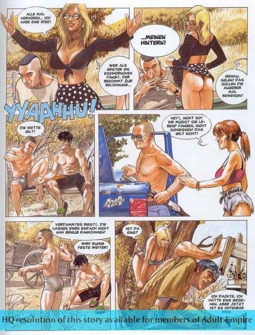 Strong dude fucks two hot landowners in porn comics
