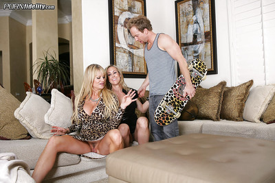 Bosomy matured Brandi A torch for has the brush pussy fucked firm upon a troika