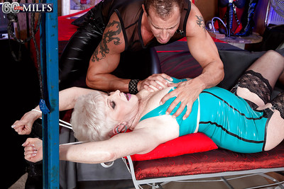 Latex en face granny approximately saggy pair captivating down hardcore BDSM dealings